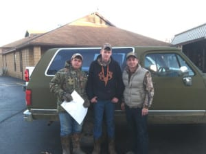 Two Senior members of the Oden Woods and Waters Club were invited to join an Eastern Arkansas duck hunt by the SBYL (Sorry 'Bout Your Luck) Duck Camp in De Vall's Bluff, Arkansas.Long-time friends and supporters of Oden High School,Rick and Chris Harrell donated top notch accommodations and hunting guideservices to three fortunate Montgomery County hunters. Pictured from left to right are Billy Joe Damazio, Travis Gray, and OWWC Sponsor William Edwards.