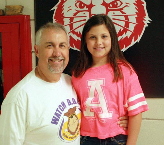 Mr. Robbie Hines, father of 3rd grader Emmi Hines at Holly Harshman Elementary for serving as a Watch DOG Dad at HHE!