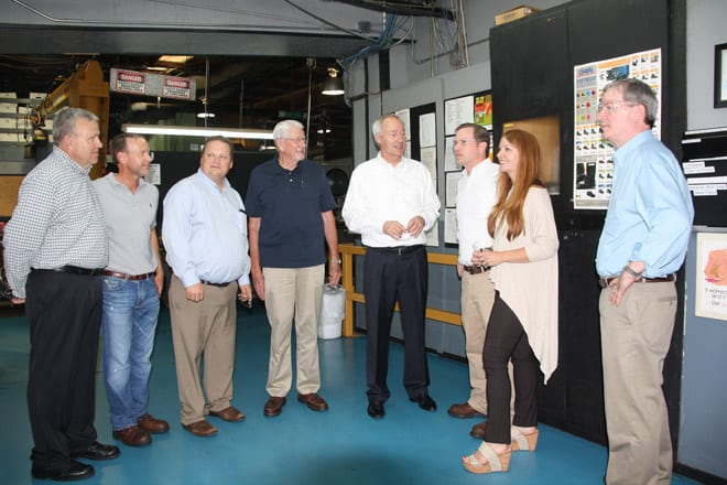 Shown above is Bob Martin, Erick Martin, State Representative Nate Bell, local Hutchinson Campaign Coordinator Bill Beam, Republican Gubernatorial Candidate Asa Hutchinson, Scott Vacca, Ashley Vacca, and Gar Eisele on a tour of local industrial business, Sterling Machinery.