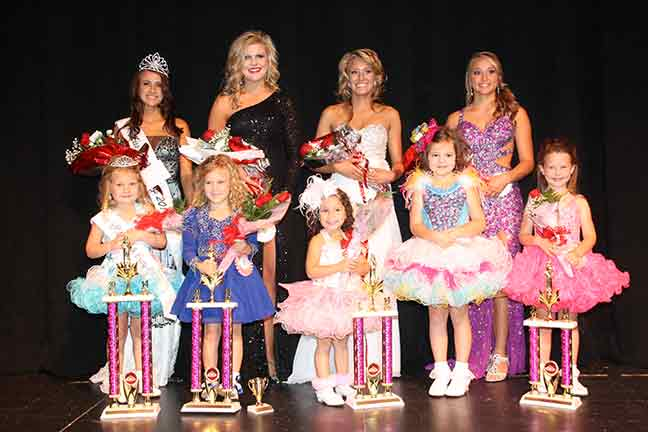 (C) POLK COUNTY PULSE Bottom Row L-R: Little Miss Polk County Jacee White, 1st-runner up Claira Morris, daughter of Jimmy & Casey Morris; a tie for 2nd-runner up - Desirae Flores, daughter of Yonathan & Melissa Flores, Brenlei Mirus, daughter of Kayla Mirus & James Mirus; and 3rd- runner up Makenley Sullivan, daughter of John Sullivan & Erica Sullivan. Top Row L-R: Miss Polk County Ashlyn Fox, 1st-runner up Brooke Hines, daughter of Rob & Sherri Hines; 2nd-runner up Beth Coogan, daughter of Mike & Elizabeth Martindale and Todd Coogan; 3rd-runner up Maddie Morrs, daughter of Dwayne Morris & Jennifer Stegman