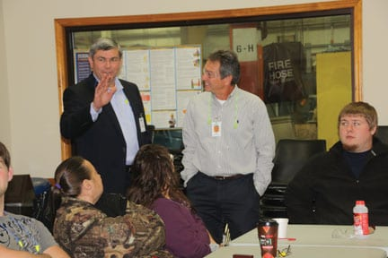 "Ross had an opportunity to visit with Nidec employees during an orientation. ""I'm an avid hunter and member of the NRA... that looks like that matters to some of you."""