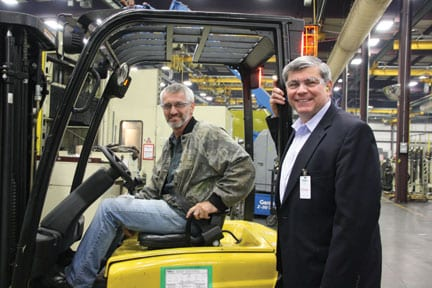 Paul Simers was among various employees that Ross had the opportunity to meet as he toured the manufacturing facility.